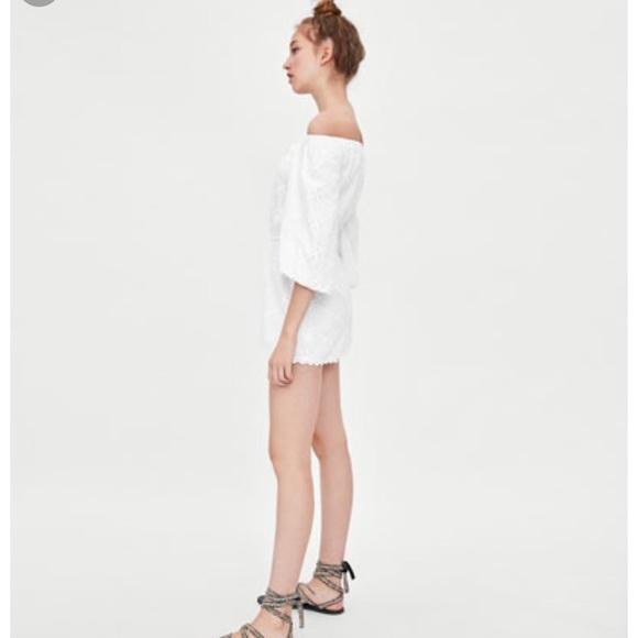 3d95b59140 Zara Pants | White Cotton Eyelet Off The Shoulder Romper | Poshmark